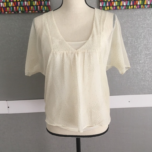 49a585728e2 Arden B Tops   Shear Layered Cropped Dolman With Gold   Poshmark
